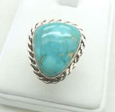 Unique Size 7.5 High Polished Gorgeous Turquoise Sterling Silver Ring