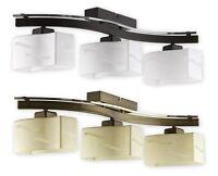 MODERN FLUSH 3 LIGHT CEILING FITTING - GOLD / BRASS GLASS SHADES BEDROOM - REGA