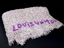 Authentic Louis Vuitton Silk Cashmere Scarf Stole Shawl Leopard Pink Q819