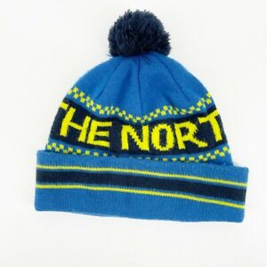 The North Face Mens Winter Beanie Hat Pom Pom Fold Roll Over Large Font Skiing