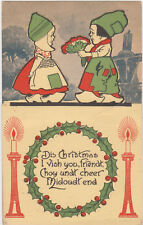 "Arts & Crafts Postcard,Fold-Out,Novelty,Dutch Kids,""Dis Christmas"",c.1915"