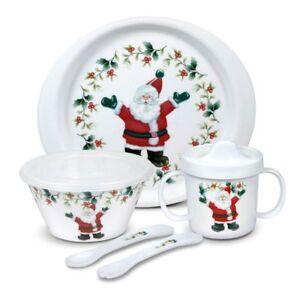 Pfaltzgraff Winterberry 5 Piece Jolly Santa Childrens Set
