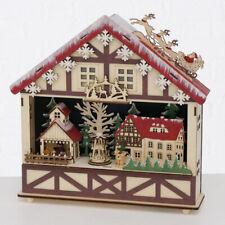 XXL WEIHNACHTSHAUS MERANO Holzhaus Deko Holz LED Weihnachtsbeleuchtung Nr57 WEIß