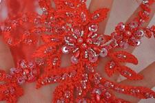 Stunning Red Beaded Lace Fabric Mesh Sequins Embroidery Lace for Wedding  51""