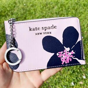 Kate Spade Cameron Card Holder Small Key Ring Wallet Grand Flora Pink