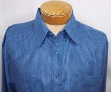 Alan Flusser Mens Blue Hounds tooth Casual Dress Shirt Polyester L