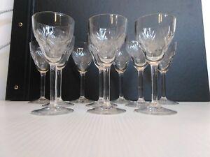 Servizio Vintage 10 Bicchieri Calici  Cristallo Incisi  Boussu Altezza 13,3 cm