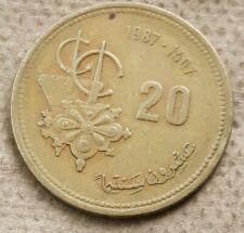 Morroco 20 Santimat/Centimes 1987-1407 Aluminium-Bronze Y#85