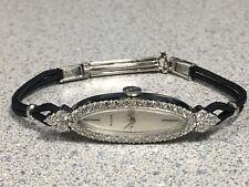 BULOVA 26-Diamond 14K Gold Watch 17 Jewels Black Cord Serviced Signed 4x