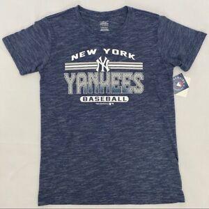 NY Yankees MLB New York Navy Blue & White Stripe Short Sleeve Boy's T-Shirt