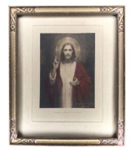 Antique C Bosseron Chambers Sacred Heart of Jesus Chromolithograph E.G. Co