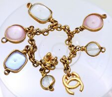 Vintage Chanel Gold Tone Bracelet  with 6 semi-precious stones from the 1980s