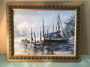 N Volk Fishing Fleet Framed Oil Painting