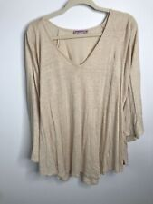 Calypso St Barth Tunic Top Medium M 100% Linen Tan Flowy Bell Sleeve Blouse