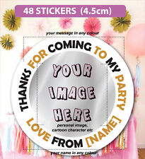 48 Birthday Christmas Party Bag Stickers Sweet cone Labels Personalised