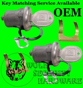 Chevy C Series P'up 67-87 Door Lock Key Cylinder Tumbler Pair 2 GM Keys Chrome