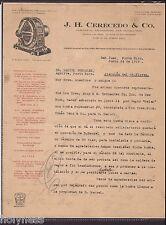 Antique Commercial Letter / J.H Cerecedo & Co / San Juan Puerto Rico / 1919