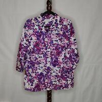 Breckenridge women's size 2X shirt multicolor print collar button up 3/4 sleeves