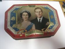 SOUVENIR OF ST. LAWRENCE SEAWAY OPENING G. HORNER TIN CANDY BOX-QUEEN ELIZABETH