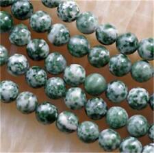 8MM NATURAL green spot JASPER GEMSTONE ROUND BEADS 15''##CH334