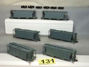 SET OF SIX ATLAS UNDECORATED COVERED HOPPER RAIL CARS, NEEDS TRUCKS, L.N.