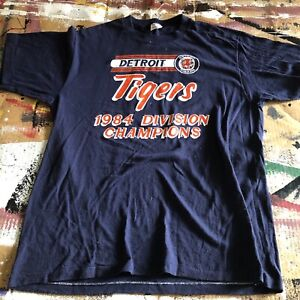 Vintage 1984 Detroit Tigers Eastern Division Champs T-Shirt XL Adult Sportswear