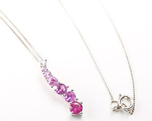 New 9ct white gold necklace with white Gold and pink sapphire drop pendant