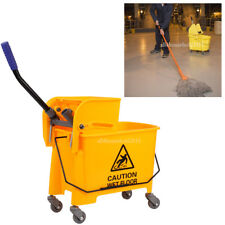 20L Commercial Heavy-duty Wet Mop Bucket Wringer Combo Yellow