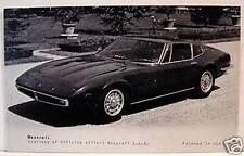 Maserati Sports Car Exhibit Old Vending Supply Card