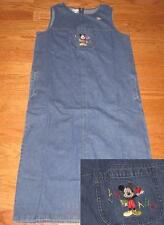 DISNEY MICKEY MOUSE SCHOOL TEACHER DENIM JUMPER DRESS *NEW* LADIES LARGE
