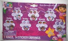DORA THE EXPLORER RINGS & EARRINGS SET AUTHENTIC GIFT CUTE 7 SETS NICK JR BOOTS