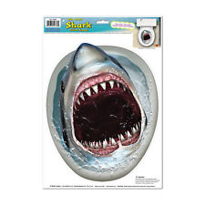 SHARK Toilet Potty Peel n Stick Topper Fun JAWS Luau Tropical Party Decorations
