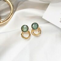 Vintage Green Brushed Stud Earrings Yellow Gold Filled Wedding Exquisite Jewelry