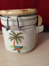 New listing Alco Industries Ceramic Spoon hinged Lid Canister Bamboo Trim Palm Tree Euc