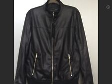 ZARA BLACK FAUX LEATHER BOMBER MOTORCYCLE JACKET SZ L REF. 4341/450