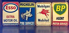 ESSO / MICHELIN / MOBILGAS /BP VTG METAL SIGN Garage Wall Decor 16x12Cm Set Of 4