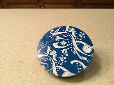 Vintage  Metal Noise Maker Tin LItho Rattle Clock Time New Years Blue White