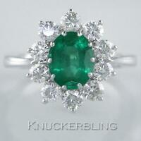 Emerald and F VS Brilliant Cut Diamond Ring in 18ct White Gold, 2.50 Carat