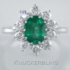 Emerald and F VS Brilliant Cut Diamond Ring in 18ct White Gold, 2.50 Carat