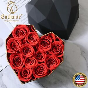 Enchante Preserved Forever Eternity Rose in Heart Box Birthday Wedding Gift