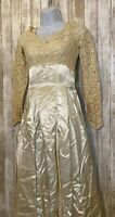 Vintage Victorian Boho Wedding Dress Satin Silk Lace A-Line Ivory Beaded Size 4