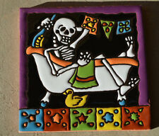 "2 Talavera Mexican tile pottery hand painted 6""  Day of the Dead"