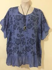 ITALIAN LAGENLOOK PLUS SIZE DENIM  THIN  PRINTED  FRILL TUNIC SIZE 20 22 24 26