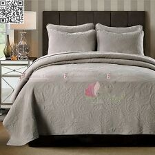 100% Cotton Coverlet/Bedspread Set Queen King Size Bed 230x250cm Charcoal Brown