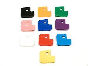 10 Stück Schlüsselkappen - eckig - farblich sortiert - Schlüsselkennringe - 7010