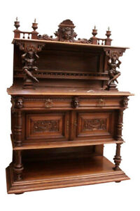Showy Antique French Jester Server /Sideboard, Marble Top, Walnut, 19th C #11627