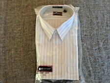 New Traditionalist Mens 17 1/2 Short Sleeve White w/blue Stripe Dress Shirt