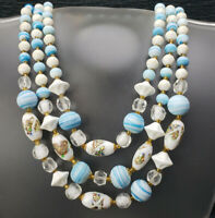 Vintage Japan Aqua White Confetti Lava Art Hand Made Glass Bead Triple Necklace