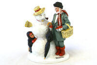 Vintage 1980 Norman Rockwell Grandpa Snowman Hand Crafted Porcelain Figurine