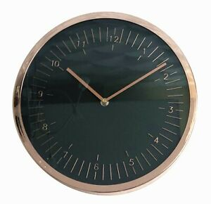 Rose Gold Copper Effect modern style Wall Clock Black Face 30cm
